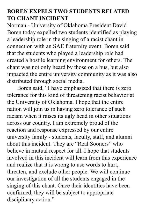 OU's President, David Boren, expels two students after SAE video surfaces